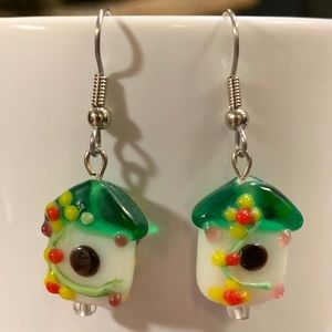 Murano Glass Bird House Earrings